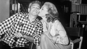 Samuel Fuller and his star on-set. The affection was surely mutual.