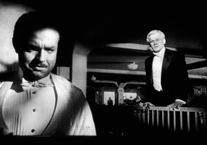 "Welles and Joseph Cotten in ""Kane."" The shot was achieved, believe it or not, with split-screen."